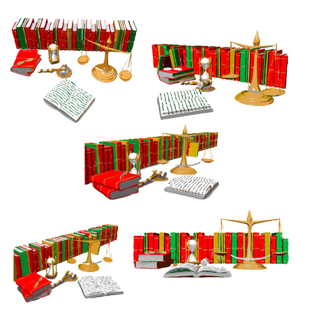 scales, wooden mallet, hourglasses, books and other objects