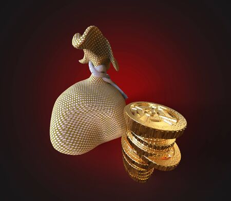 3d render. Money bags with coins on a white background