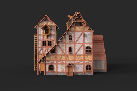 3D model of a two-story house with his yard on a white background