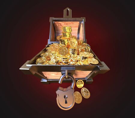 3d render. Treasure chest with euro money and gold