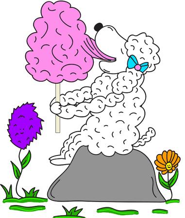 algodon de azucar: Ovejas Comer Cotton Candy imagen vectorial Ilustración de la historieta