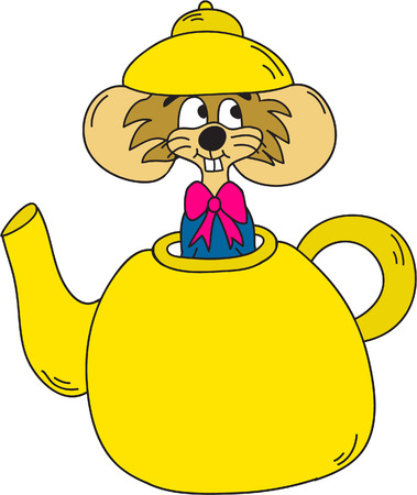 dormouse: DorMouse In Teapot Clipart- Alice In Wonderland Cartoons Illustration