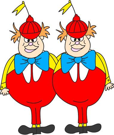 Tweedle Dee Tweedle Dum Clipart- Alice In Wonderland dessins animés Banque d'images - 39551571