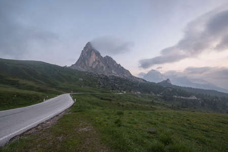 mountain pass: Mountain Panorama of the Dolomites as viewed from passo di Giau (as viewed from the mountain pass Giau). Photograph was taken just after the sunrise from the top of the pass.