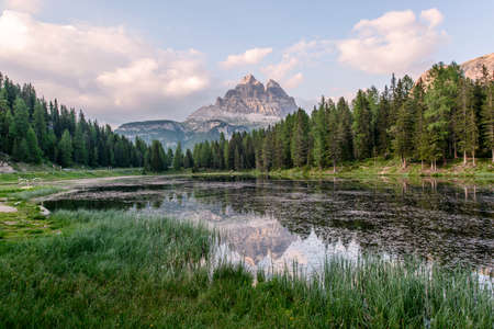 lake misurina: Mountain reflection in Lake Antorno in the Dolomites just above lago di Misurina