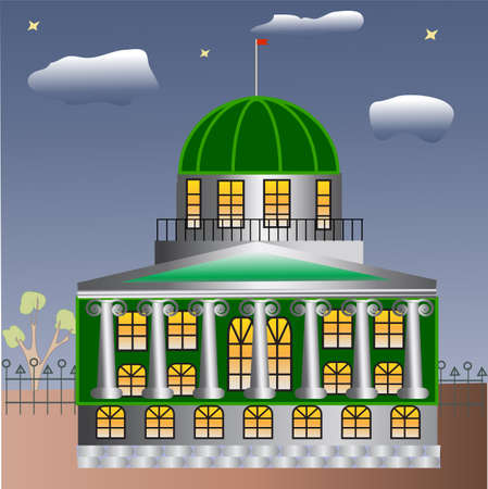 balustrade: architectural building with columns - classical building with a dome, a balustrade, in the evening, luminous Windows  Illustration