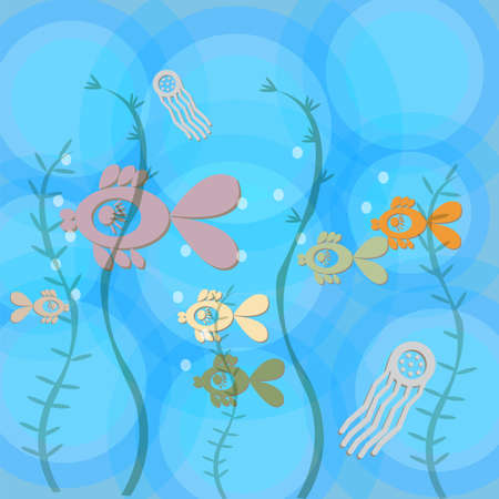 sea landscape: abstract illustration - sea landscape with colorful fish and jellyfish , eps10