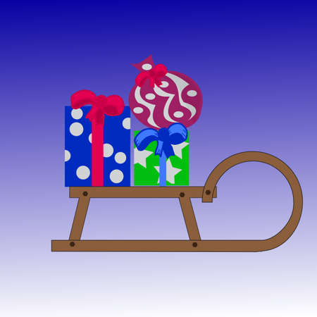 toboggan: Gifts in a sleigh in the boxes and bag,eps10.