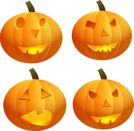 haunting: Halloween pumpkin. Scary Jack. Vector illustration