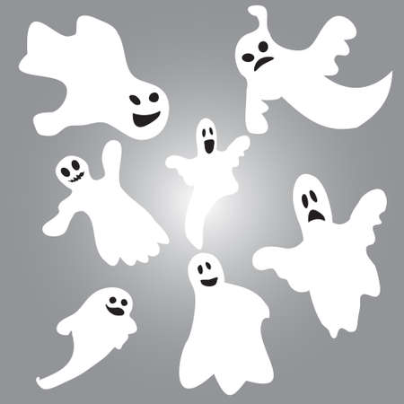poltergeist: Set of halloween emotional ghosts isolated  on black background Illustration