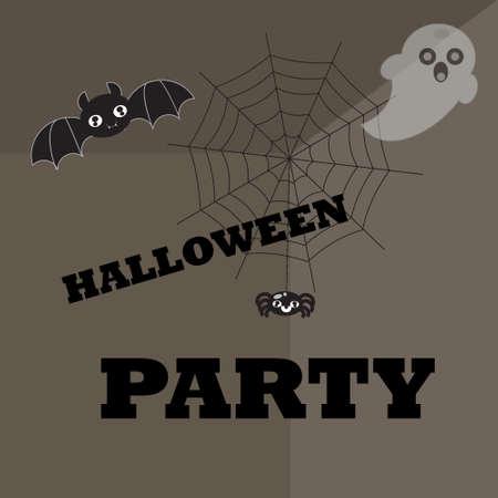 halloween spider: Halloween poster background with pumpkin, spider, spider web , Ghost and bat Illustration