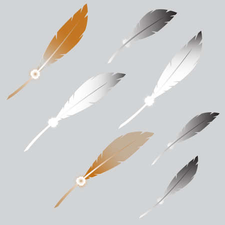 a literary sketch: a set of drawings of  feathers, fluffy, white and beige Illustration