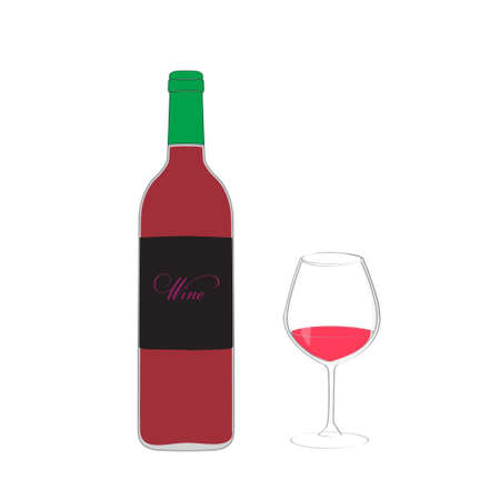 red wine glass: icon bottle and glass with red wine on white  background