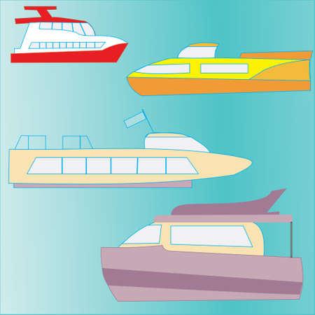 pleasure: set of icons marine yachts, pleasure craft, tourist and passenger Illustration
