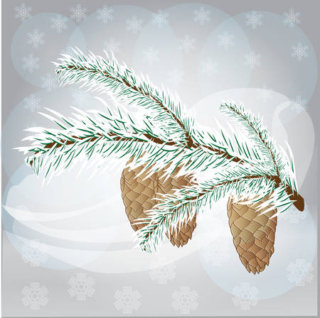 fir branch: Winter background, snowflakes, snow-covered fir branch with cones