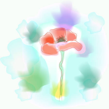 imitation: Vivid flower imitation of watercolor - vector illustration Illustration