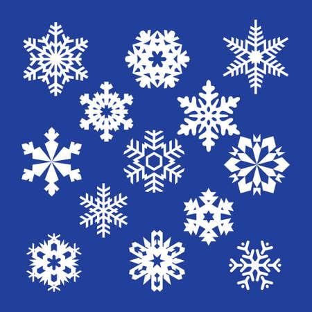 ベクトル雪片、青い雪、白い背景の青い雪のコレクション