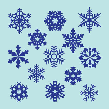 blue snowflakes: collection of vector snowflakes, blue snowflakes, blue snowflakes on a white background