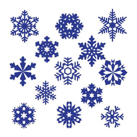 copo de nieve: colecci�n de vector copos de nieve, copos de nieve, copos de nieve azules azules sobre un fondo blanco