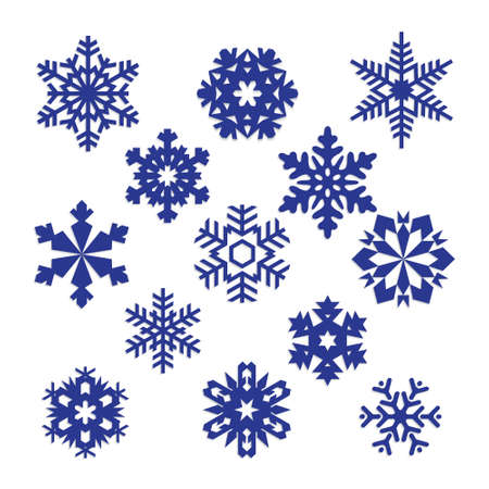 design drawing: collection of vector snowflakes, blue snowflakes, blue snowflakes on a white background