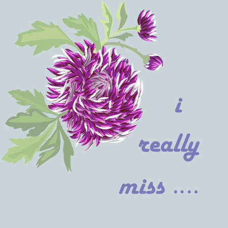 lilac flower: card with lilac flower on a subdued blue background. inscription - I really miss