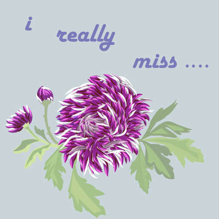 miss: card with lilac flower on a subdued blue background. inscription - I really miss