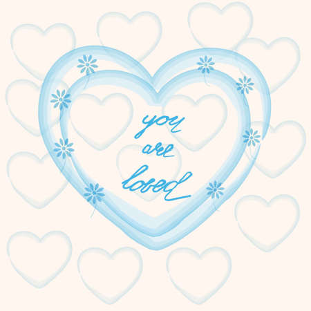 loved: You are loved ,hand lettering Valentines Day greeting card, vector illustration