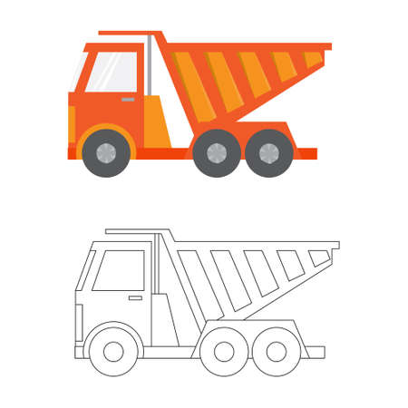 earthmoving: Car ,construction Machinery, illustration flat icon in color and linea, dump truck Illustration