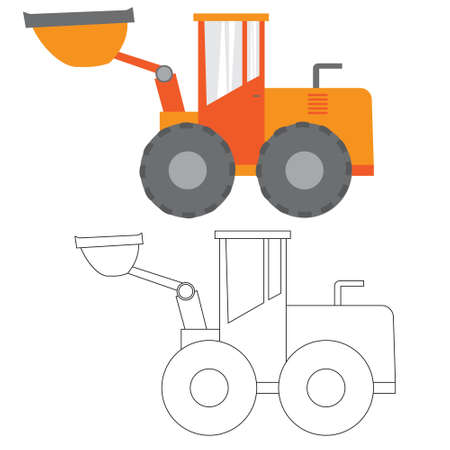 grader: Car ,construction Machinery, illustration flat icon in color and linea, tractor, grader