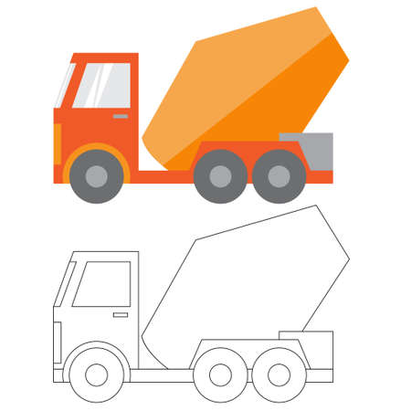 earthmoving: Car ,construction Machinery, illustration flat icon in color and linea, the mixer truck Illustration