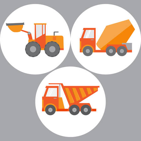 earthmoving: Set of construction equipment and tools, image.flat icons