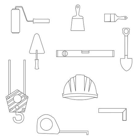 line drawings: Set of construction equipment and tools, image.flat icons and line drawings Illustration