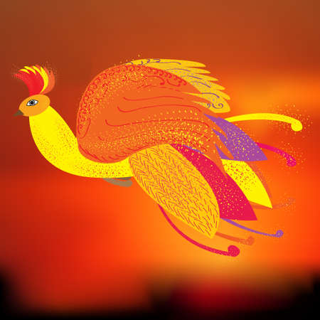 mythical phoenix bird: The Phoenix bird as a symbol of rebirth, illustration, the Firebird from Russian fairy tales