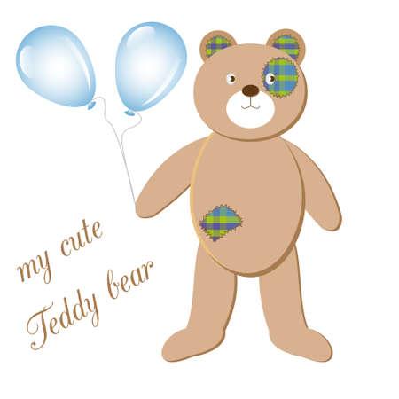 balloons teddy bear: my cute Teddy bear with balloons on a white background