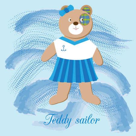 sailor girl: cute Teddy bear - sailor girl, on the backdrop of the sea waves, in naval uniform