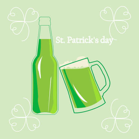 clovers: St. Patricks day, illustration, poster with the symbol  of the holiday  - leaf clovers and green beer