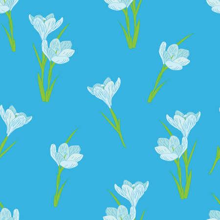 gentle: seamless pattern on a blue background gentle spring crocuses