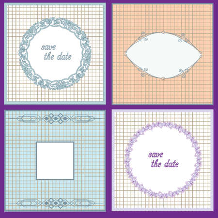 four texture: Set of four cards with texture and pattern. Vintage frame. Place for your text.