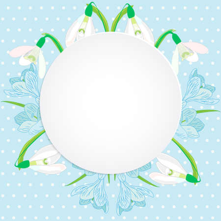 snowdrops: Vector business and personal cards with a spring theme, blue and white color, primroses, snowdrops and crocuses Illustration
