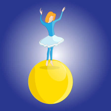 tightrope walker: Illustration of a young girl tightrope Walker dancing on the big ball in the circus Illustration