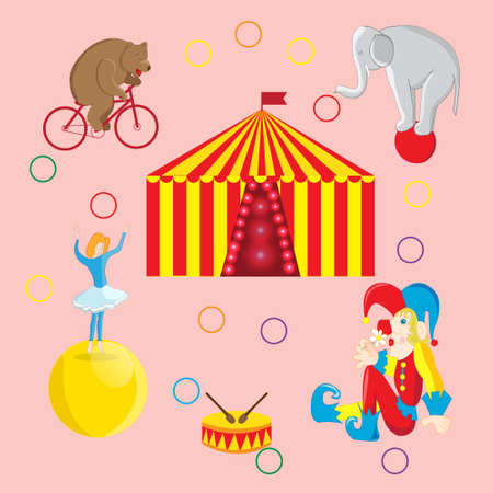 tightrope walker: Set of illustrations on the theme of a circus bear on a Bicycle, tightrope Walker on the ball, the clown and elephant, circus tent Illustration
