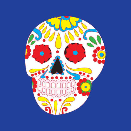 macabre: Day of the dead national holiday in Mexico, colorful skull with floral ornament Illustration