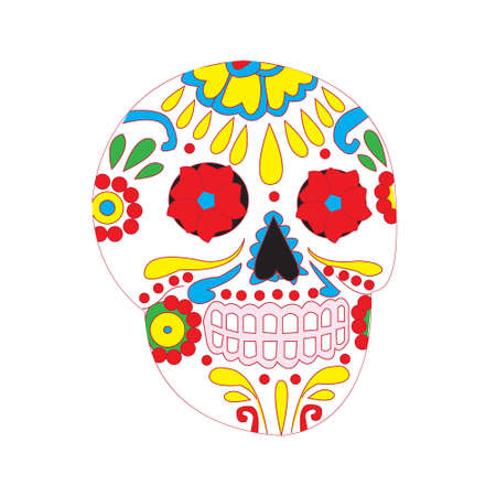 national holiday: Day of the dead national holiday in Mexico, colorful skull with floral ornament Illustration