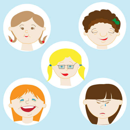 dirty girl: Illustration Featuring Kids Showing Different Facial Expressions