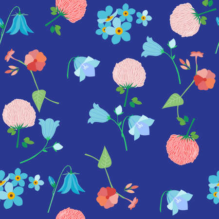 uncultivated: Wildflowers - bluebells, clover flowers, forget-me-nots and field carnation, seamless pattern, vector illustration