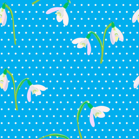 snowdrops: Snowdrops on a blue background. Spring vector illustration. Spring background. Seamless pattern with snowdrops.