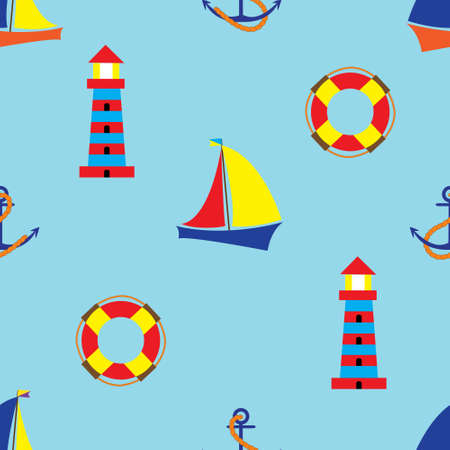 coatings: Bright seamless pattern with sea elements in doodle style. Sailboat, lighthouse, anchor, Buoy. Illustration