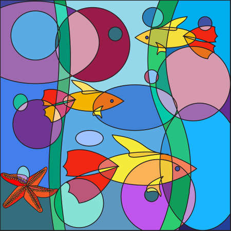 occupant: Beautiful multicolored Doodle fish on abstract sea background, in the form of a colorful mosaic