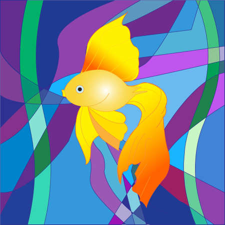 occupant: A beautiful Golden fish on a sea abstract background in the form of a colorful mosaic Illustration