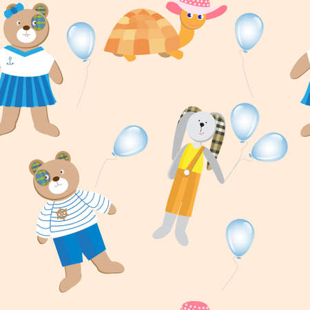 balloons teddy bear: Seamless pattern with cute animals, toys and balloons on a light background. Teddy bear sailor, the turtle and the rabbit Illustration